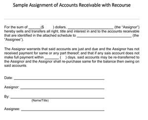 Assignment of Accounts Receivable with Recourse