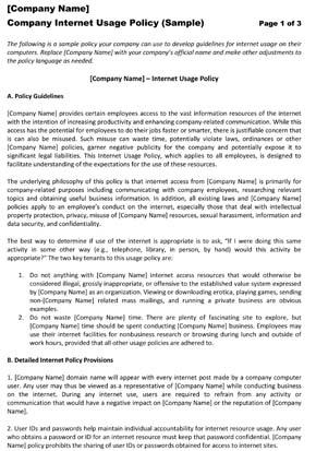 company internet use policy 2
