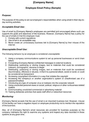Sample Employee Email Policy