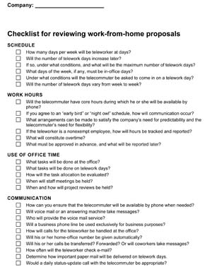 Managing TeleWorkers Checklist