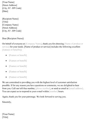 New Customer Thank You Letter Small Business Free Forms