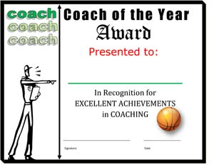 Coach of the Year Award Certificate