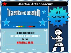 Boys Karate Award Certificate