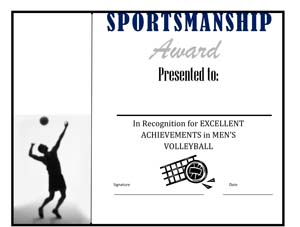 Men's Volley Ball Award Certificate