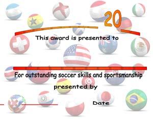 Soccer Award Certificate #2