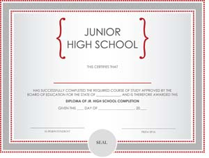 Junior High School Diploma Certificate