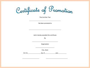 Certificate Of Promotion Small Business Free Forms