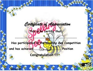 Spelling Bee Certificate Small Business Free Forms