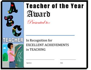 Teacher of the Year Certificate