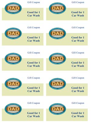 Fathers day coupons small business free forms for Car wash coupon template