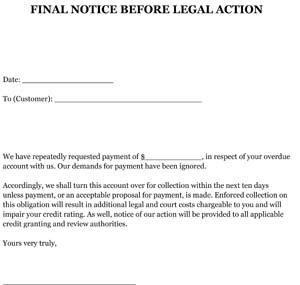 final notice before legal action letter sample small business free