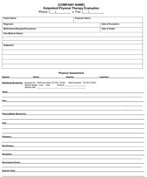Outpatient Physical Therapy Evaluation Form