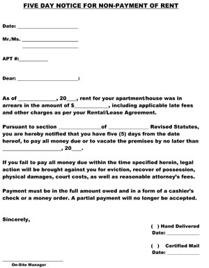Rent Five Day Notice of Non-Payment Letter