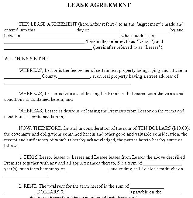Lease Agreement Form  Much More  Small Business Free Forms