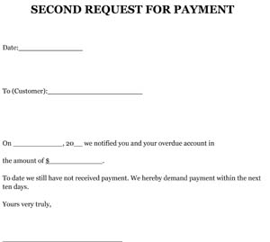 Request (2nd) for Payment Letter Sample
