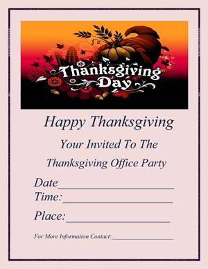 Thanksgiving Office Party Flyer