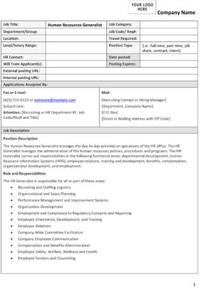 Sample HR Generalist Job Description