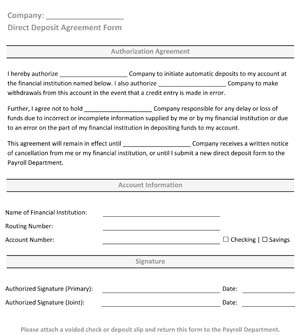 Sample Direct Deposit Form