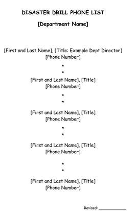 Disaster Call List