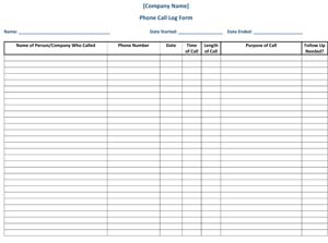 Sample Phone Call Log Form