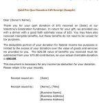 Quid Pro Quo Donation Gift Receipt (Sample)