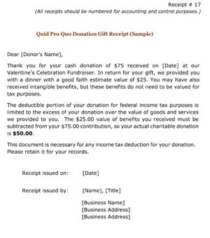 donation gift receipt quid pro quo small business free forms