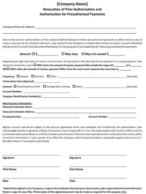 Revocation of Prior Authorization (Direct Deposit Revocation)