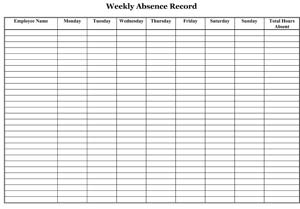 Sample Employee Absence Record