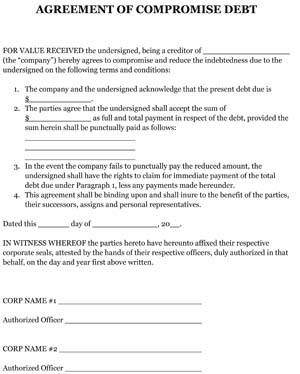 Sample Agreement Of Compromise Debt Small Business Free Forms