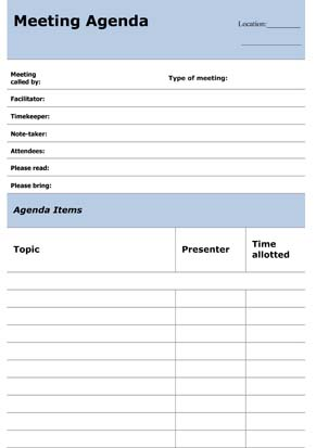 Sample Business Informal Meeting Agenda
