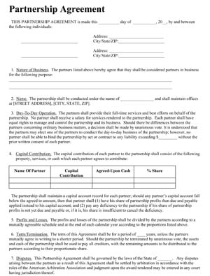 Sample Business Partnership Agreement Contract