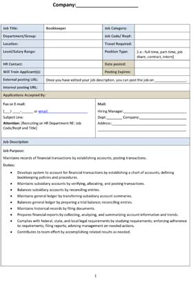 Sample Bookkeeper Job Description