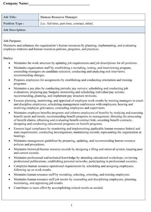 Sample Human Resource Manager Job Description