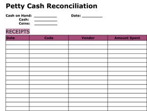 sample petty cash reconciliation small business free forms. Black Bedroom Furniture Sets. Home Design Ideas