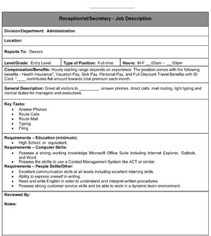 Sample Secretary/Receptionist Job Description