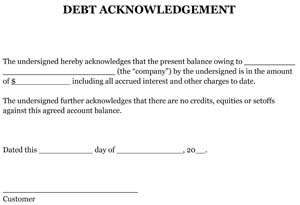 Sample Debt Acknowledgement Small Business Free Forms