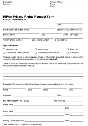 HIPAA Privacy Rights Request