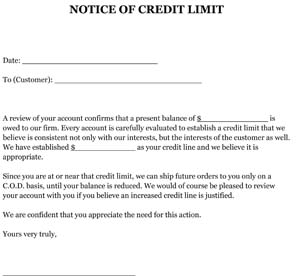 Sample Letter Notice Of Credit Limit Small Business Free