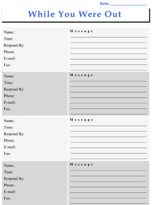 Sample Phone Message Log Sheets