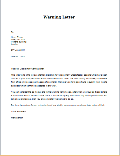 employee warning notice document warnings in writing