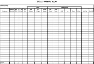 Weekly Payroll Recap
