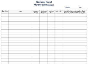 Business Bill Organizer Template