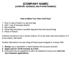 Physical Therapy Cold Pack Instructions