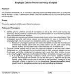 Sample Employee Cell Phone Use Policy