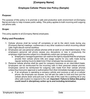 Cell Phone Policies Small Business Free Forms