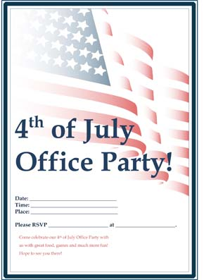 July 4th Flag Office Party Flyer #1