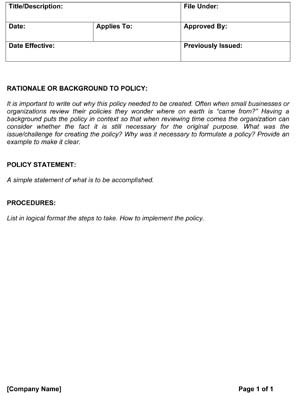 Policies And Procedures Template from www.smallbusinessfreeforms.com