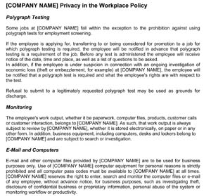 Workplace Privacy Policy (Sample)