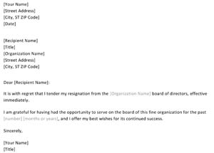 Resignation From Board Letter