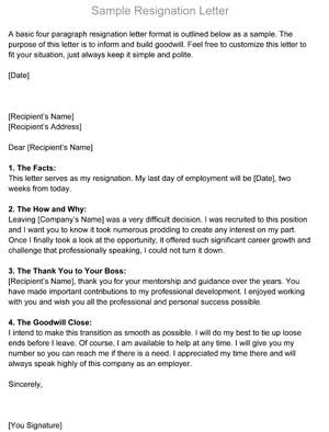 Resignation Letter (Sample)